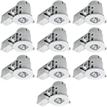 """Globe Electric 4"""" Swivel Spotlight Recessed Lighting Kit Dimmable Downlight, Contractor's 10-Pack Round Trim, White Finish, Easy Install Push-N-Click Clips, 90540"""