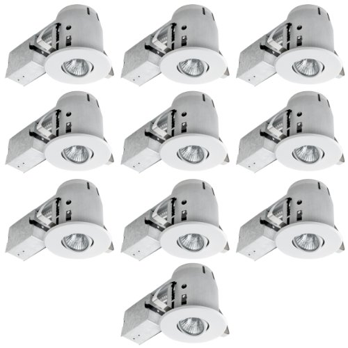 Kitchen recessed lighting amazon globe electric 4 swivel spotlight recessed lighting kit dimmable downlight contractors 10 pack round trim white finish easy install push n click clips aloadofball Gallery