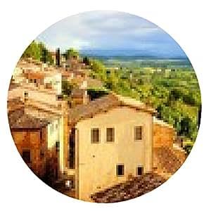 alfombrilla de ratón paisaje de la Toscana y Montepulciano al atardecer, Italia - ronda - 20cm