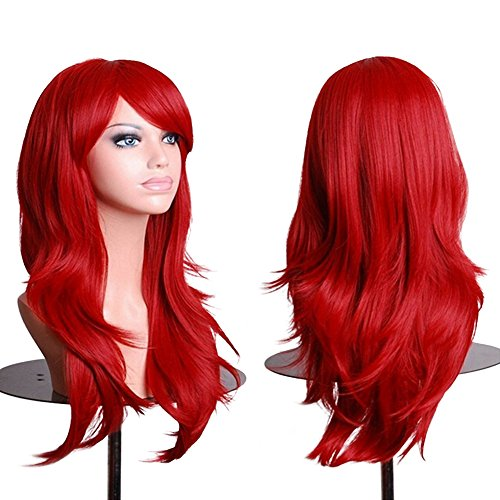 Red Cosplay Wigs Long 28 inch Wavy Curly Halloween Costume Anime Cosplay Wig With bangs