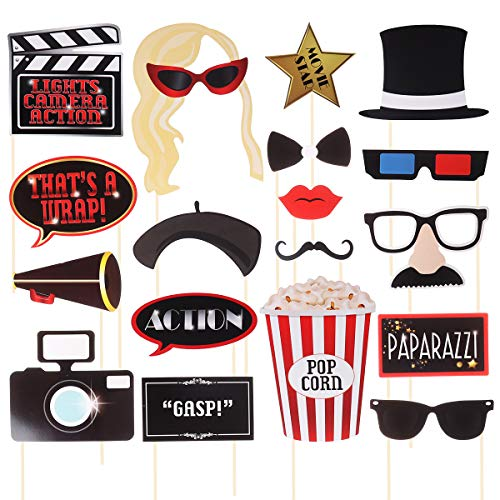 Amosfun Movie Star Photo Props Funny Hollywood Photo Booth Props Hollywood Party Favors for Wedding Birthday Bachelorette Party Decoration 18 -