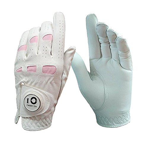 Pink Left Handed Golf Glove (Women's Ladies Golf Gloves Left Hand Right with Ball Marker Leather Grip Value Pack, Pink Fit Woman Girl, Size Small Medium Large XL, By Finger Ten (Medium, Worn on Left Hand))