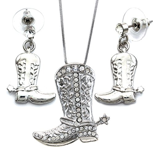 Lucky Western Cowboy Cowgirl Boots Necklace Pendant Charm & Earrings 2-piece Set (Rhinestone Western Jewelry)