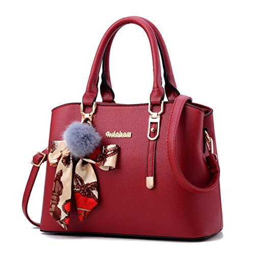 Women PU Leather Shoulder Bag Tote Satchel Red - 8