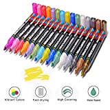 Comlife Metallic Marker Pen, 15 Vibrant Colors Set of Paint Marker Pens, Professional