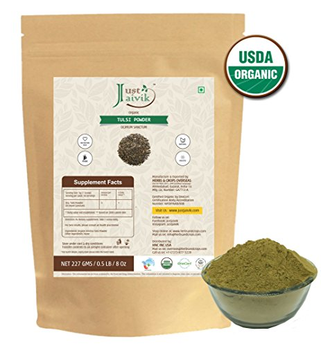 Just Jaivik 100% Organic Tulsi Powder Holy Basil Powder- Ocimum Sanctum- 0.5 LB/227 g 1/2 Pound- USDA Organic Certified - An Ayurvedic ()