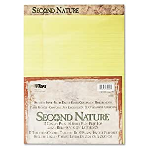 TOPS Second Nature 100% Recycled Legal Pad, 8-1/2 x 11-3/4 Inches, Perforated, Canary, Legal/Wide Rule, 50 Sheets per Pad, 12 Pads per Pack (74890)