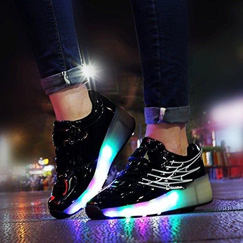 Meurry Unisex LED Light Roller Patín Zapatillas Niños Niños Niños Adultos Entrenadores al aire libre con una rueda Adulto Zapatos intermitentes Cumpleaños Halloween Regalo de Navidad Negro