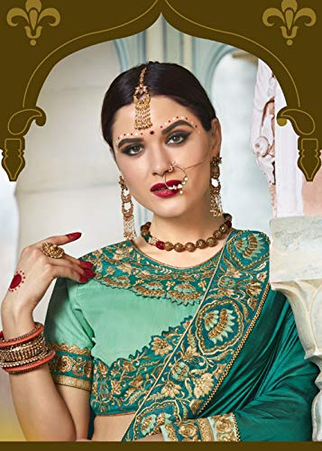 Women Party Sarees Forest Green Traditional Wear For Sari Indian Designer UAExwgwq