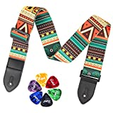 Guitar Strap for Acoustic Electric Bass Guitar Leather Ends Guitar Shoulder Strap with 6 Free Guitar Picks (Boheimia)