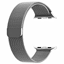 top4cus Double Electroplating Milanese Loop Stainless Steel Replacement iWatch Band with Magnetic Closure Clasp for Apple Watch - Apple Watch Band 38mm Regular Length - Silver