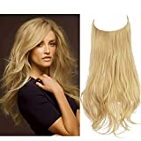 SARLA Halo Hair Extension Light Honey Blonde Curly Short Synthetic Hairpiece 12 Inch 3.5 Oz Hidden Wire Headband for Women Heat Resistant Fiber No Clip (M05&27/613)