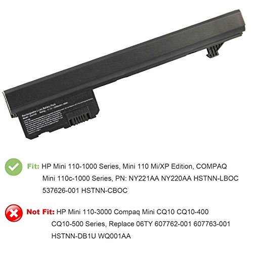 AC Doctor INC Laptop Battery for HP Mini 110-1000 Series, Mini 110 Mi/XP Edition, COMPAQ Mini 110c-1000 Series, PN: NY221AA NY220AA HSTNN-LBOC 537626-001 HSTNN-CBOC, 5200mAh/11.1V/6 Cell