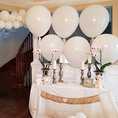 Big Balloon 36 Inch Latex Giant Balloon Large Balloons for Photo Shoot/Birthday/Wedding Party/Festival/Event/Carnival Decorations (Big White Balloons)