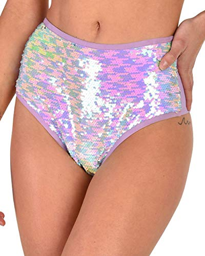 iHeartRaves Lavender Pretty Pixie Sequin High Waisted Booty Shorts (Medium)]()