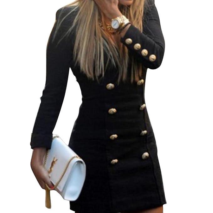 Damen Kleider Slim Partykleid Frauen Langarm Kleid V-Ausschnitt ...