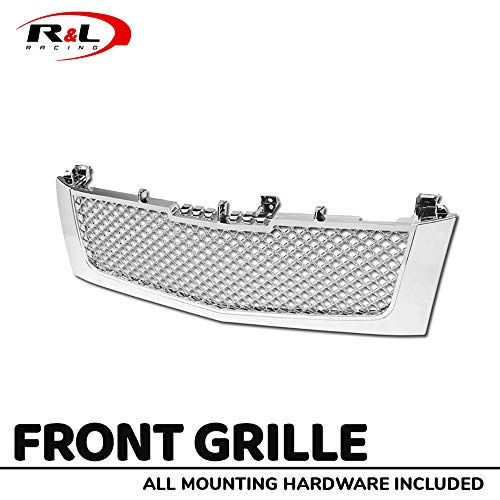 R&L Racing Chrome for Cadillac Escalade 02-06 Front Grille Luxury Mesh Hood Bumper -