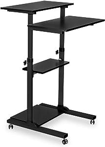 Mount-It! Mobile Stand Up Desk/Height Adjustable Computer Work Station Rolling Presentation Cart (MI-7940B)