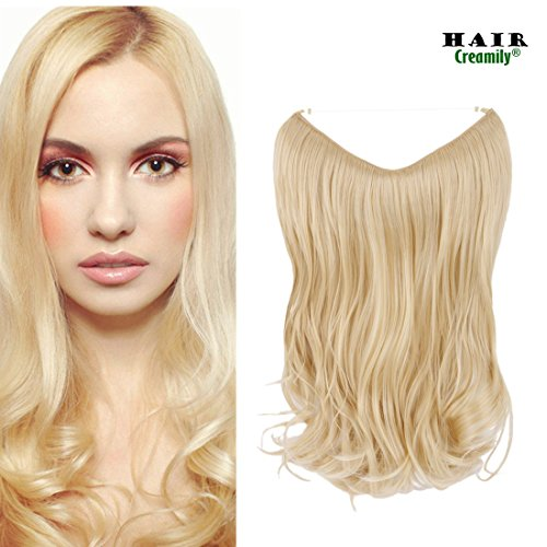 "Creamily 14"" Wavy Curly Blonde Synthetic Hair Extension Secret Miracle Heat Resistance Hair Wire Hairpieces No Clip for Women"