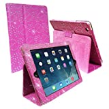 IPAD AIR PINK DIAMOND BLING SPARKLY CRYSTAL PU LEATHER MAGNETIC FLIP CASE COVER STAND SKIN BY Connect Zone®