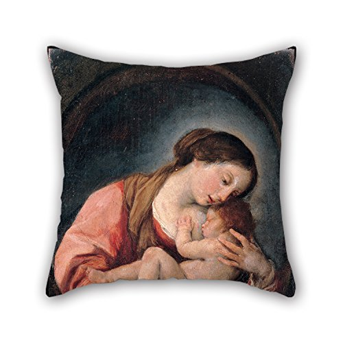 Oil Painting Giovanni Bonati - Madonna With The Child Cushion Cases 18 X 18 Inch / 45 By 45 Cm Gift Or Decor For Living Room,saloon,wedding,adults,bedroom,him - Two Sides (Free Paris Hilton Sex Video)