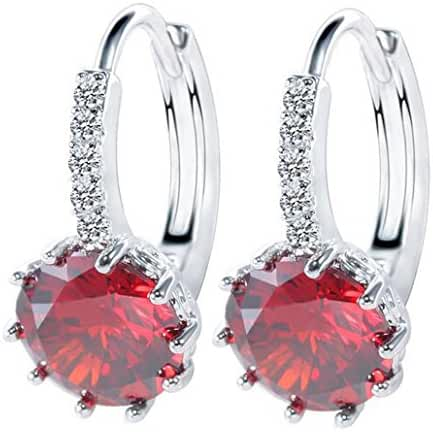 18K White/Rose Gold GP Round Cut Zircon Crystal Hoop Earring Party Dangle Earring Stud