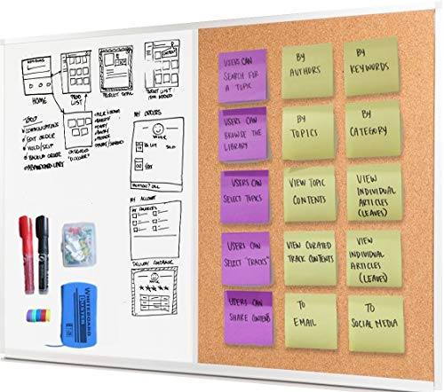 Dry Erase Cork Board Combo Set - 28 x 20 Magnetic White Board and Cork Bulletin Combination Board, Use as Vision, Message Board, Memo Board - 2 Dry Erase Markers, Eraser, Magnets, Push Pins ()
