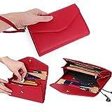 Zg Women Clutch Wallet Purse Wristlet, Passport Wallet, Cell Phone Clutch Wallet, All In One Purse Extra Capacity Red