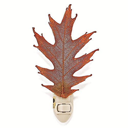 Iridescent Lights Copper Night - The Rose Lady Iridescent Copper or 14kt Gold Dipped Real Oak Leaf Nightlight -Made in USA (Gold)