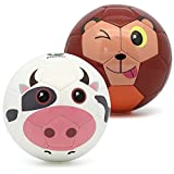 Picador Cute Cartoon Design Soccer Ball Size 3 for Kids (White Cow + Monkey)