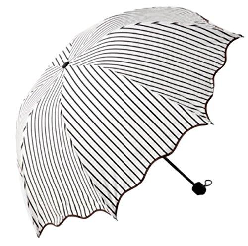 (페리의)feliz 청우 겸용 멋쟁이 나오 귀여운 경량 접이식 스트라이프 양산
