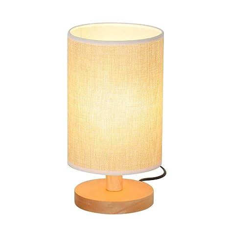 Qu-Hsrkocb Lámpara de mesa con base de madera con pantalla ...
