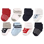 Luvable Friends Baby 8 Pack Newborn Socks, Red/Navy Sneakers, 0-6 Months