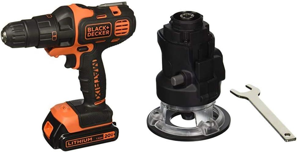 BLACK+DECKER 20V MAX Matrix Cordless Drill Combo Kit, 2-Tool with Router Attachment (BDCDMT120IA & BDCMTR)