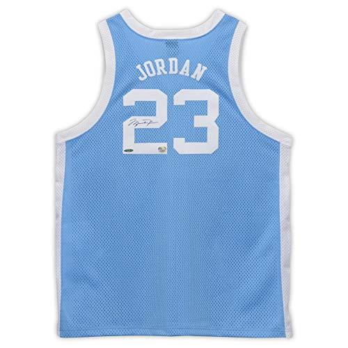 Michael Jordan North Carolina Tar Heels Autographed Blue Jersey - Upper Deck Certified - Autographed College Jerseys