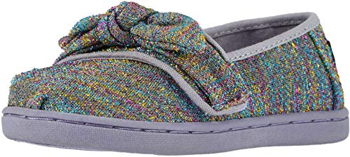 (TOMS Kids Baby Girl's Alpargata (Infant/Toddler/Little Kid) Drizzle Grey Multi Glimmer Woven/Bow 8 M US Toddler)