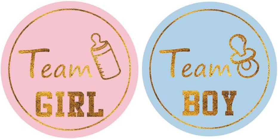 MUMULULU 80PCS Gold Gender Reveal Stickers Team boy and Team Girl Baby Shower Sticker Labels Round Circle Labels Stickers