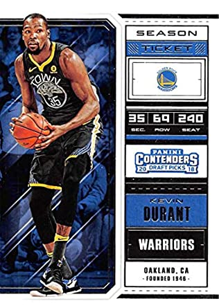 e6222aa76fc 2018-19 Panini Contenders Draft Picks Basketball Season Ticket  32 Kevin  Durant Golden State