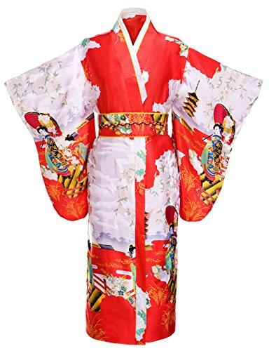 Kimono Palace Women's Japanese Traditional Pagoda Classy Silk Kimono Robe/Bathrobe/Party Robe Long With Bag by Kimono Palace