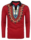 COOFANDY Mens Bright African Dashiki Printed Long Sleeve Polo Shirt,X-Large,Red