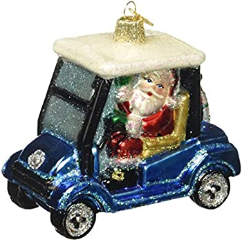 old world christmas golf cart santa glass blown ornament