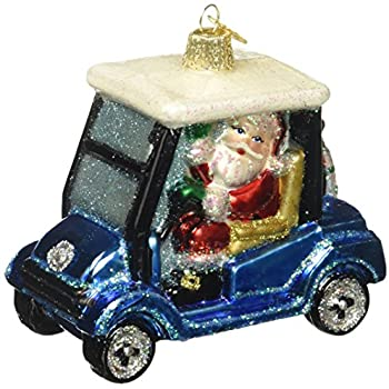old world christmas golf cart santa glass blown ornament - Golf Cart Christmas Decorations