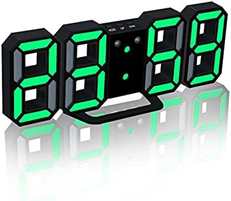 Trade LED Electronic Wall Clock, 3D Digital LED Table Alarm Clock 24 12 Hour Display Plastic Alarm Clock Snooze Clock Brightness Automatically Adjust Black, Green