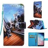 iPhone 8 Plus Case, iPhone 7 Plus - Case [Wrist Strap], MerKuyom [Kickstand] PU Leather Wallet Pouch Flip Cover Case for Apple iPhone 7 Plus/iPhone 8 Plus 5.5', Stylus (Fun Cat vs Tiger)