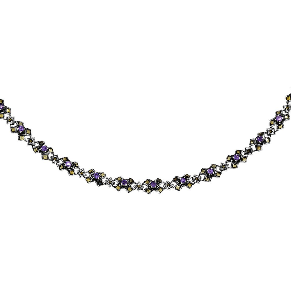 Sterling Silver Cubic Zirconia Amethyst Kiss Necklace, 16 inches long