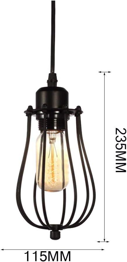 Lustre Luminaire Moderne Lampe Suspension Style Retro Industrielle sans ampoule E27 Lustre Plafonniers forme de cage M/étal Retro Antique Suspensions Luminaire NOIR, 15CM