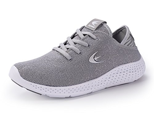 Ezywear Women's Running Shoe Fashion Sneaker Breathable Shock Absorbing Walking Shoe Sport Cross Trainer Shoe (7.5,Grey)
