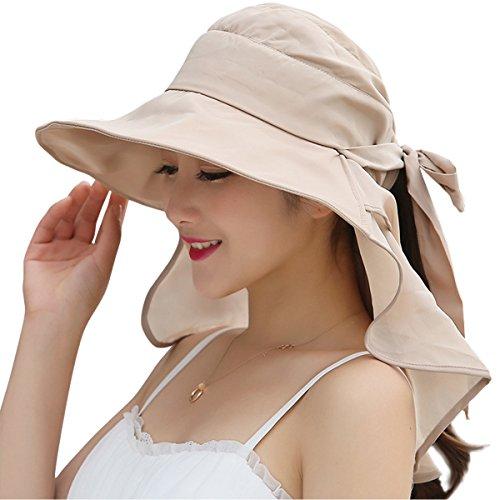 bc47b6bf JOYEBUY Women Wide Brim Sun Hats UV Protection Summer Beach Visor Cap  (A-Beige)