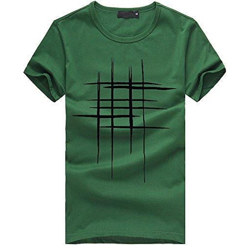 (Men Line Print T-Shirt Printing Tees Shirt Short Sleeve T Shirt Cotton Casual Blouse (Medium, Green))