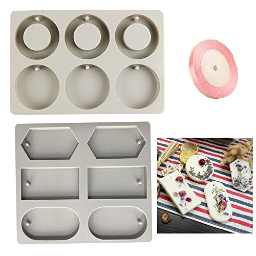 Efivs Arts 2 Set Silicone Candle Molds DIY Soap Making Mold Plaster Candy Cake Backing Making Tray 6 Cavity Round Square Diamond Shape with Satin Ribbon